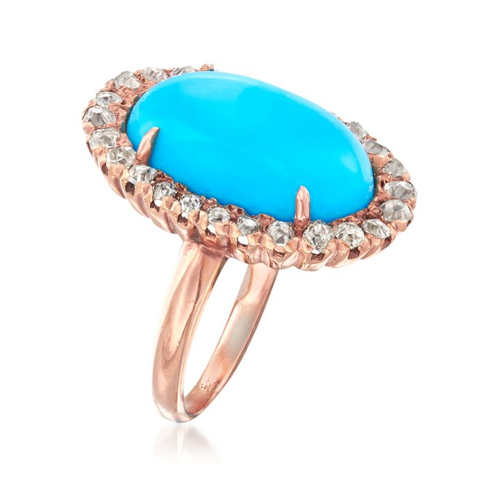 C. 1930 Vintage Simulated Turquoise and .55 ct. t.w. Diamond Ring in 14kt Rose Gold