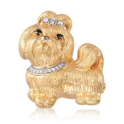 .10 ct. t.w. Diamond Shih Tzu Pin Pendant in 18kt Gold Over Sterling, , default