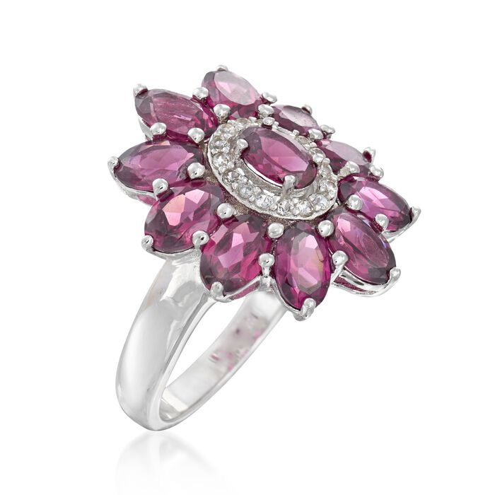 5.50 ct. t.w. Rhodolite Garnet and .20 ct. t.w. White Zircon Flower Ring in Sterling Silver