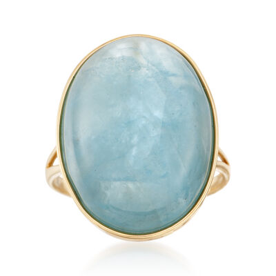 20x15mm Aquamarine Cabochon Ring in 14kt Yellow Gold