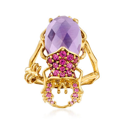 5.75 Carat Amethyst and .83 ct. t.w. Rhodolite Garnet Beetle Ring in 18kt Gold Over Sterling, , default