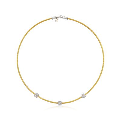 "ALOR ""Classique"" .14 ct. t.w. Diamond Station Yellow Cable Necklace with 18kt White Gold, , default"