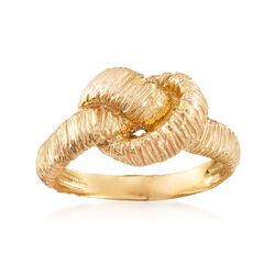 Italian 18kt Yellow Gold Over Sterling Silver Textured Knot Ring, , default