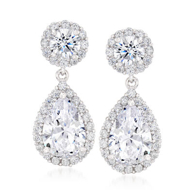 3.90 ct. t.w. Pear-Shaped CZ Drop Earrings in Sterling Silver, , default