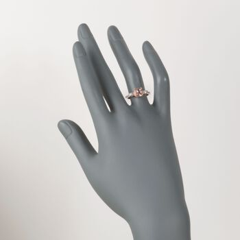 1.40 Carat Morganite and .10 ct. t.w. Diamond Ring in 14kt Rose Gold Over Sterling, , default