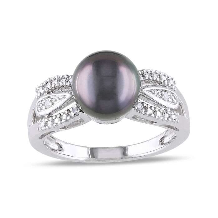 9-9.5mm Black Cultured Tahitian Pearl with Diamond Accents in Sterling Silver