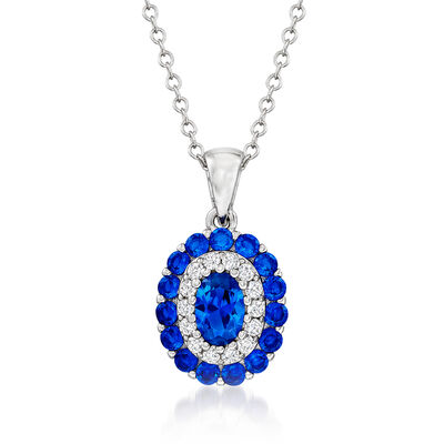 .90 ct. t.w. Simulated Sapphire and .10 ct. t.w. CZ Pendant Necklace in Sterling Silver