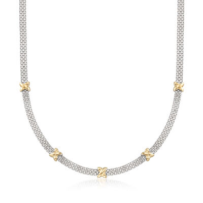 Sterling Silver and 14kt Yellow Gold Bismark-Link Necklace, , default