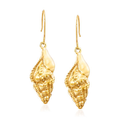 Italian 14kt Yellow Gold Seashell Drop Earrings