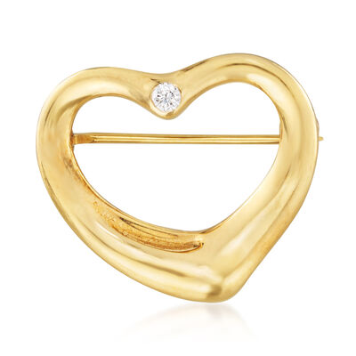 "C. 1980 Vintage Tiffany Jewelry ""Elsa Peretti"" 18kt Yellow Gold Heart Pin with Diamond Accent, , default"