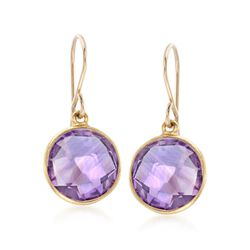 7.00 ct. t.w. Bezel-Set Amethyst Drop Earrings in 14kt Gold Over Sterling, , default