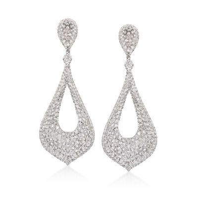 7.55 ct. t.w. Pave Diamond Dangle Earrings in 14kt White Gold, , default