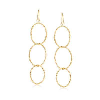 14kt Yellow Gold Triple Interlocking Oval Drop Earrings, , default