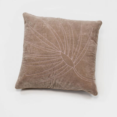 Joanna Buchanan Taupe Cotton Velvet Embroidered Palm Frond Pillow, , default