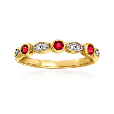 C. 1980 Vintage .25 ct. t.w. Synthetic Ruby and Diamond-Accented Ring in 9kt Yellow Gold