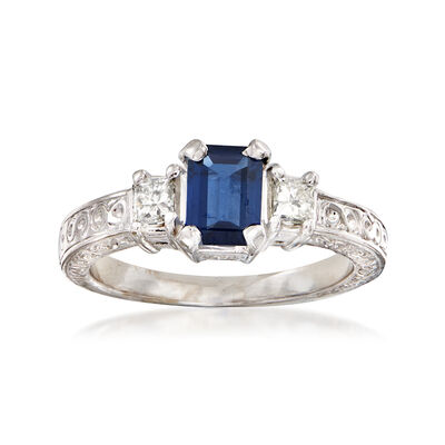 C. 1980 Vintage 1.00 Carat Sapphire and .40 ct. t.w. Diamond Filigree Ring in 14kt White Gold, , default