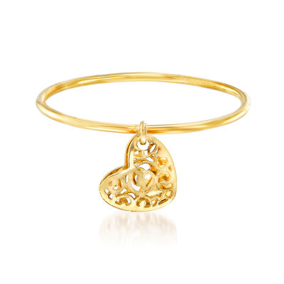 Italian 18kt Yellow Gold Filigree Heart Charm Ring