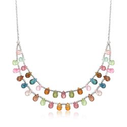 "35.00 ct. t.w. Multicolored Tourmaline Two-Row Drop Necklace in Sterling Silver. 18"", , default"
