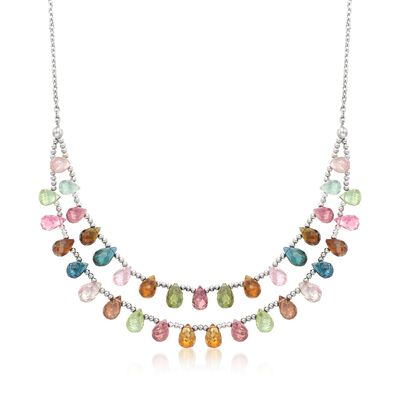 35.00 ct. t.w. Multicolored Tourmaline Two-Row Drop Necklace in Sterling Silver, , default