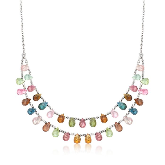 """35.00 ct. t.w. Multicolored Tourmaline Two-Row Drop Necklace in Sterling Silver. 18"""", , default"""