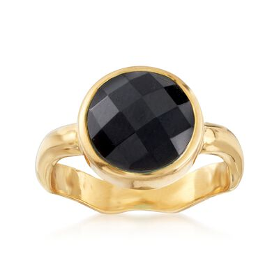 Black Onyx Ring in 18kt Gold Over Sterling, , default