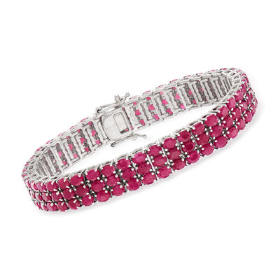 40.00 ct. t.w. Ruby Three-Row Tennis Bracelet in Sterling Silver, , default