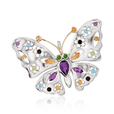 2.50 ct. t.w. Multi-Stone Floral Butterfly Pin Pendant Necklace in Sterling Silver and 14kt Gold, , default