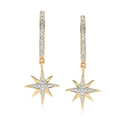 .13 ct. t.w. Diamond Star Drop Earrings in 18kt Gold Over Sterling Silver , , default