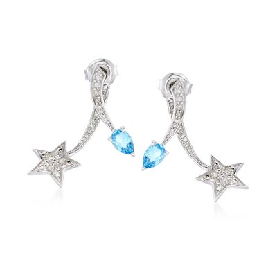 .70 ct. t.w. Blue Topaz and .10 ct. t.w. Diamond Star Front-Back Earrings in Sterling Silver, , default