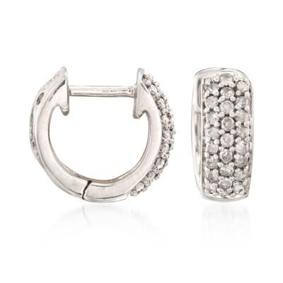 .25 ct. t.w. Diamond Huggie Hoop Earrings in Sterling Silver