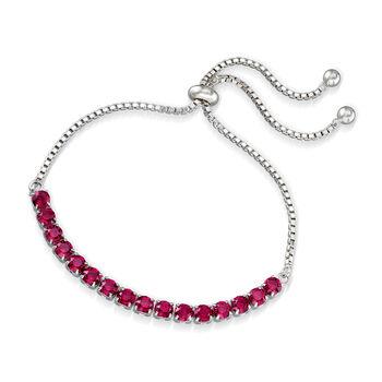 Swarovski Crystal Red Bolo Bracelet in Sterling Silver, , default
