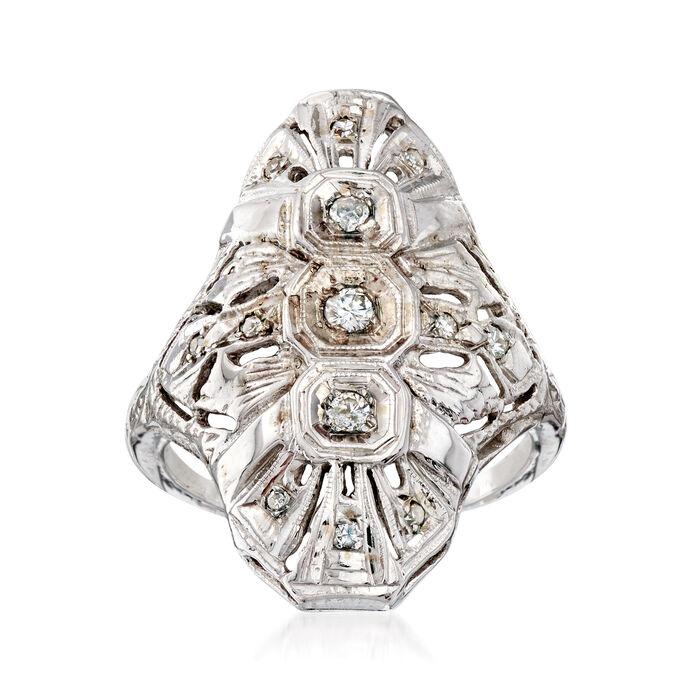 C. 1960 Vintage .47 ct. t.w. Diamond Dinner Ring in 14kt White Gold. Size 7.5