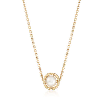 "Phillip Gavriel ""Italian Cable"" 4.5mm Cultured Pearl Pendant Necklace in 14kt Yellow Gold, , default"