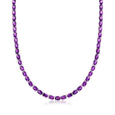 40.00 ct. t.w. Amethyst Tennis Necklace in Sterling Silver