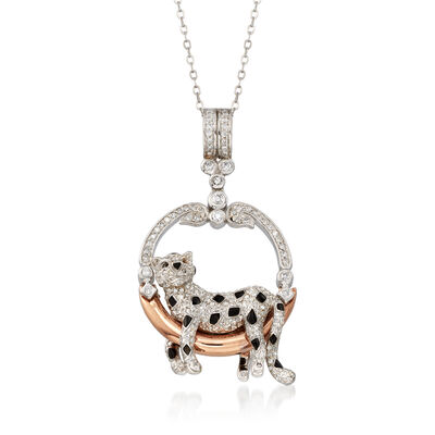 C. 1990 Vintage 1.00 ct. t.w. Diamond Panther Pendant Necklace in 18kt Two-Tone Gold, , default