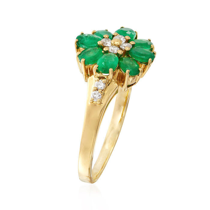 1.20 ct. t.w. Emerald and .20 ct. t.w. Diamond Flower Ring in 18kt Yellow Gold
