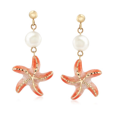 Italian 8mm Cultured Pearl Starfish Earrings in 14kt Yellow Gold, , default