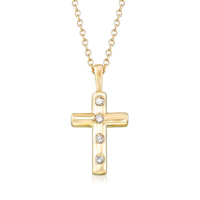 .10 ct. t.w. Diamond Cross Pendant Necklace in 14kt Yellow Gold