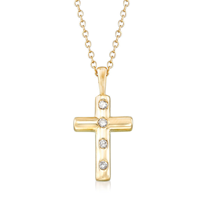.10 ct. t.w. Diamond Cross Pendant Necklace in 14kt Yellow Gold, , default
