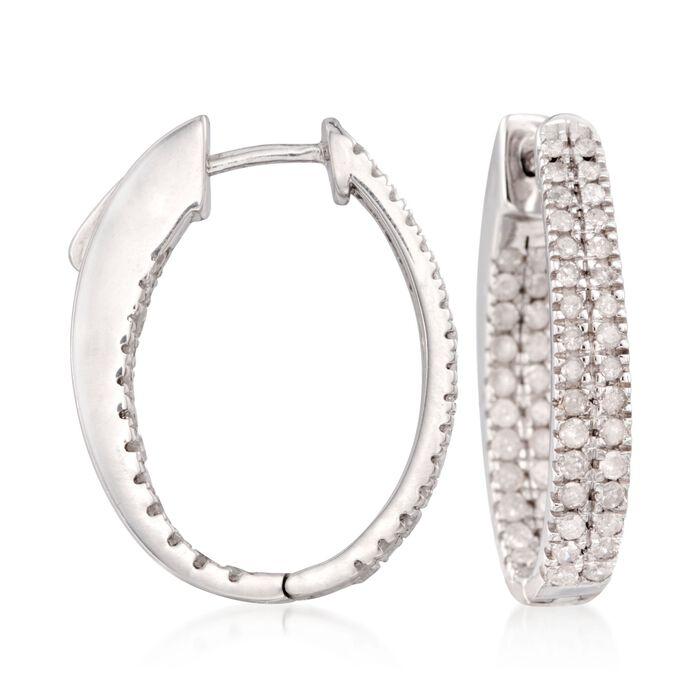 """1.50 ct. t.w. Diamond Inside-Outside Hoop Earrings in Sterling Silver. 7/8"""", , default"""