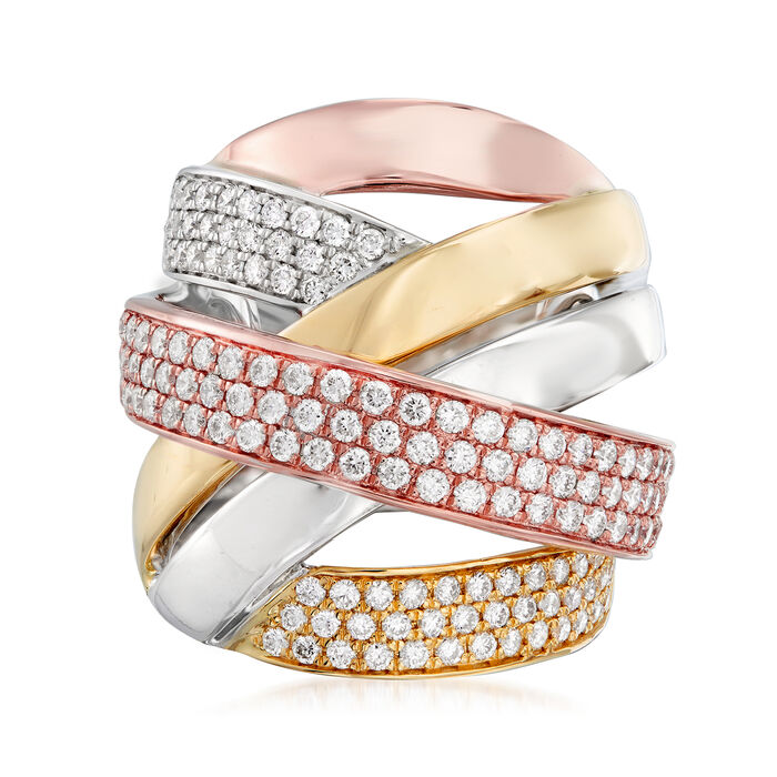 1.60 ct. t.w. Pave Diamond Highway Ring in 14kt Tri-Colored Gold
