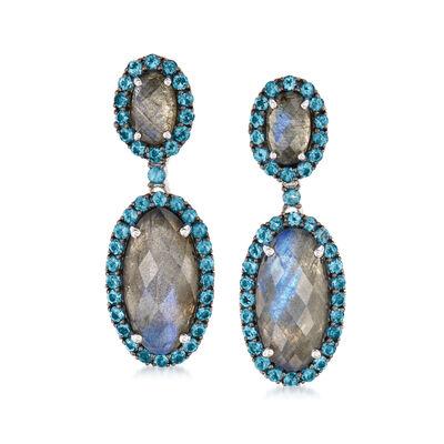 Labradorite and 2.30 ct. t.w. London Blue Topaz Drop Earrings in Sterling Silver
