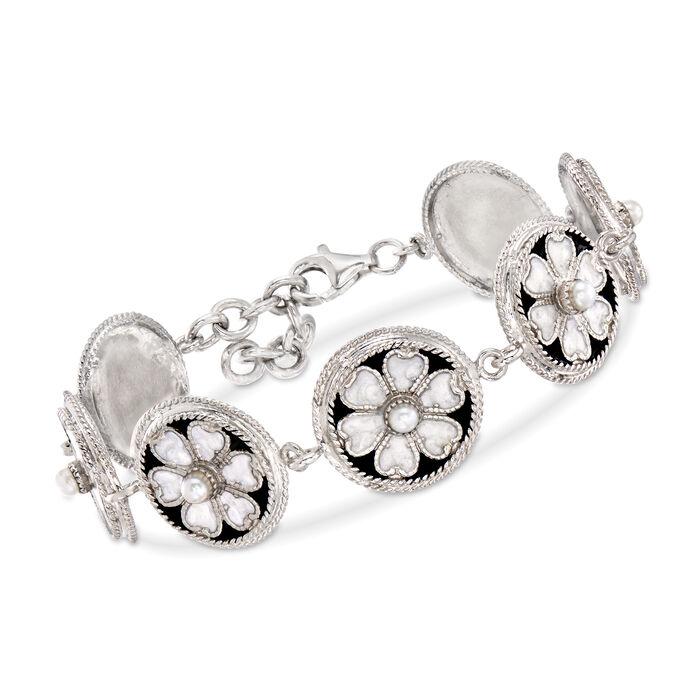 Italian 3-3.5mm Cultured Pearl and Enamel Flower Bracelet in Sterling Silver, , default