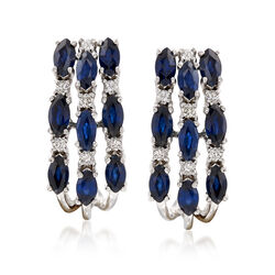 1.90 ct. t.w. Sapphire and .16 ct. t.w. Diamond Hoop Earrings in 14kt White Gold, , default