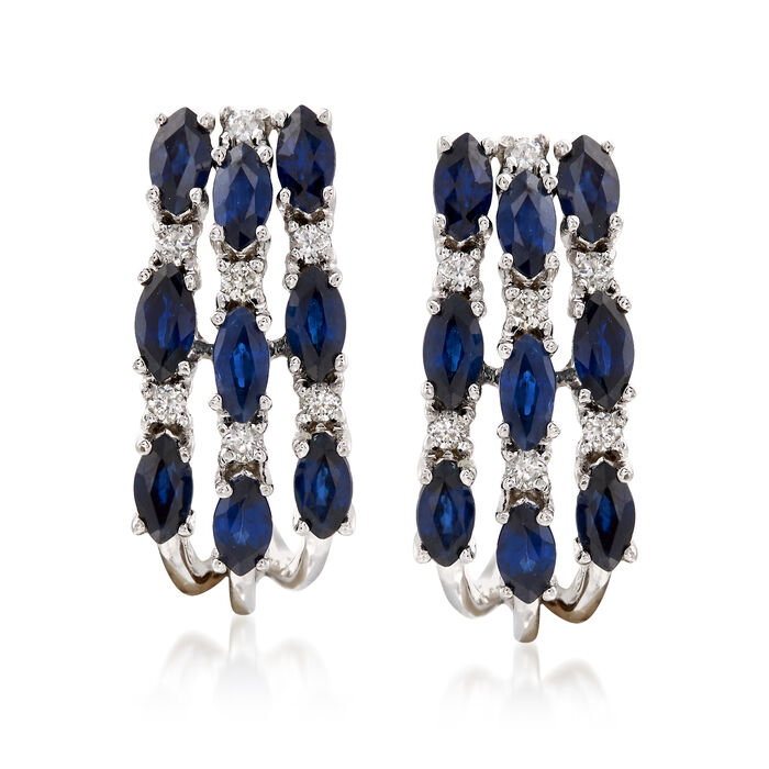 "1.90 ct. t.w. Sapphire and .16 ct. t.w. Diamond Hoop Earrings in 14kt White Gold. 5/8"", , default"