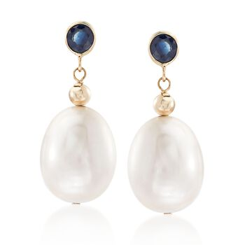 9.5-10.5mm Cultured Pearl and .60 ct. t.w. Sapphire Drop Earrings in 14kt Yellow Gold, , default