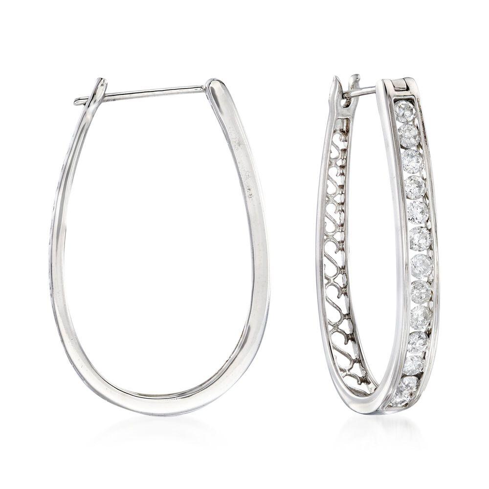 8a4218fd50fa4 1.50 ct. t.w. Channel-Set Diamond Oval Hoop Earrings in 14kt White Gold. 1  1/4