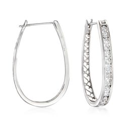 "1.50 ct. t.w. Channel-Set Diamond Oval Hoop Earrings in 14kt White Gold. 1 1/4"", , default"
