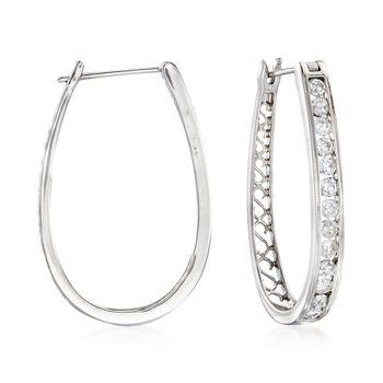 """1.50 ct. t.w. Channel-Set Diamond Oval Hoop Earrings in 14kt White Gold. 1 1/4"""", , default"""