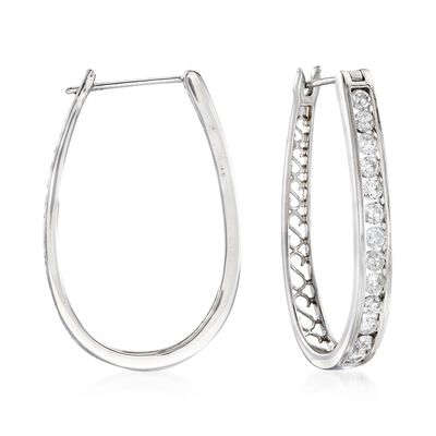 1.50 ct. t.w. Channel-Set Diamond Oval Hoop Earrings in 14kt White Gold, , default